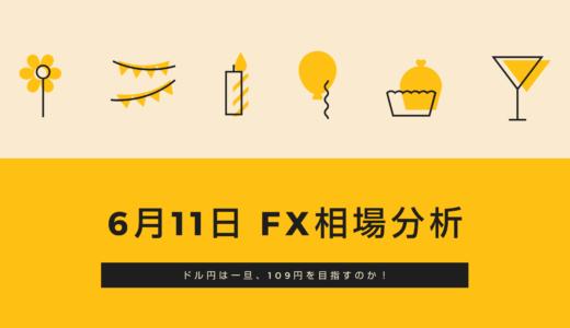 【FX相場分析動画】判断が難しく感じています。ドル円は109.00を目指すか(6月11日)